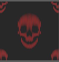 red skulls seamless pattern on black background vector image