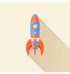 Rocket long shadow icon vector