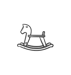 rocking horse swing hand drawn outline doodle icon vector image