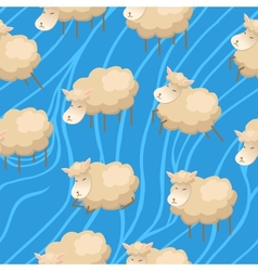 Seamless lambs clouds wallpaper vector image