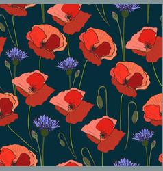 seamless pattern poppy cornflower vector image