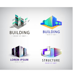 Set of colorful real estate logos city vector