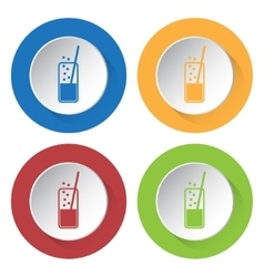 set of four icons - glass with drink and straw vector image