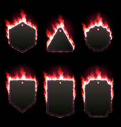 Set of six frames surrounded with red lame vector