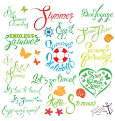 set summer calligraphy 380 vector image