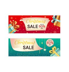 set two christmas sale card templates vector image