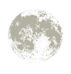 Silhouette of full moon hand drawn on white vector