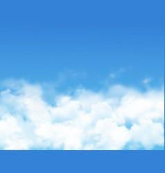 Sky clouds fog on blue heaven realistic cumulus vector