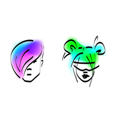 Stylish man and woman with colored hair vector