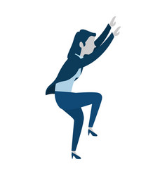 Successful businesswoman climbing avatar character vector
