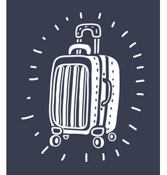 suitcase for travel on isolated white background vector image
