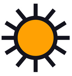 Sun icon black line isolated object vector
