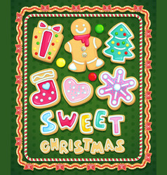 sweet christmas cookies set vector image