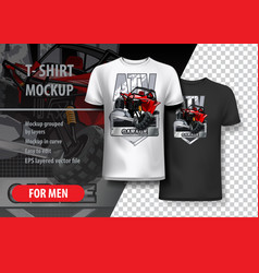 T-shirt template fully editable with red off-road vector