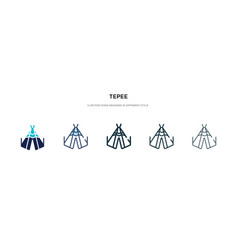 Tepee icon in different style two colored and vector