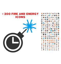 time bomb icon with bonus fire set vector image
