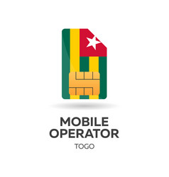 Togo mobile operator sim card with flag vector