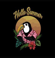 toucan bird hello summer vector image