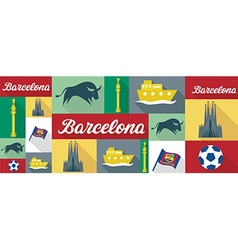 travel and tourism icons Barcelona vector image