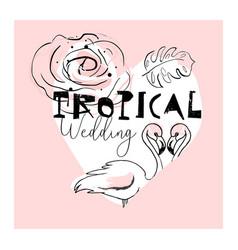 tropical flamingo card vector image