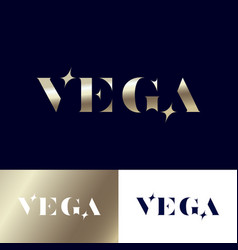 vega logo gold stars jewelry emblem vector image