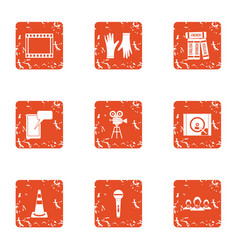 Video montage icons set grunge style vector