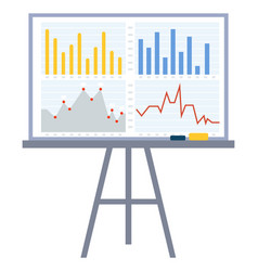 Whiteboard with infocharts and visualize data vector