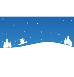 Winter Christmas people ski landscape vector image