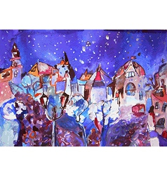 Winter city painting - Christmas time card vector