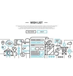 Wish list - line design website banner template vector