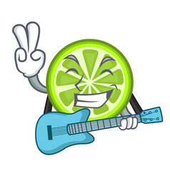 With guitar green lemon slices in character fridge vector