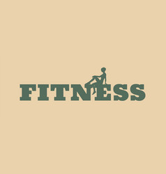 woman silhouette on fitness text vector image