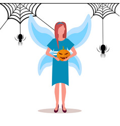 woman wearing magic fairy costume holding pumpkin vector image