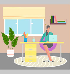 work remotely during coronavirus a woman works vector image