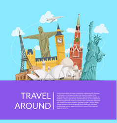 World sights background with place for text vector