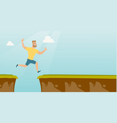 Young caucasian sportsman jumping over the cliff vector