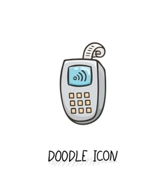 Doodle icon with credit card payment vector image