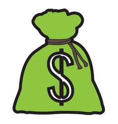 isolated money bag vector image vector image