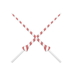 two crossed lances in red and white design vector image vector image