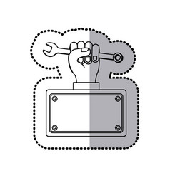 wrench in the hand icon stock vector image
