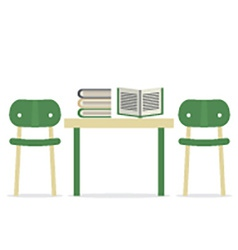 Chairs With Books On Table vector image vector image