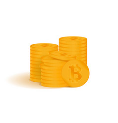 golden bitcoin digital currency a stack of coins vector image