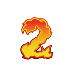 number 2 fire flames font two tattoo alphabet vector image