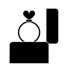 Silhouette hand hold engagement box with ring vector