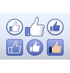 Thumb up like icons set social network vector image vector image