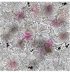 doodle floral seamless pattern pink and gray vector image vector image