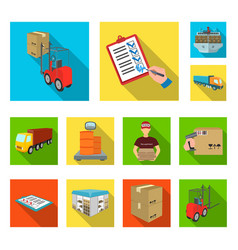 Logistics and delivery flat icons in set vector