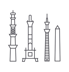 towers line icon sign on vector image