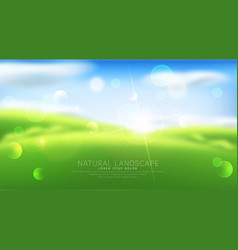 abstract background with blur green grass sky vector image