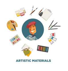 artistic materials set on promotional poster with vector image